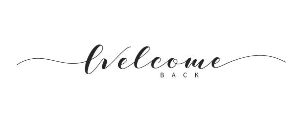 Welcome back hand drawn brush lettering. Welcome back hand drawn brush lettering. Elegant handwritten calligraphic inscription. Welcome text in lettering style. back stock illustrations