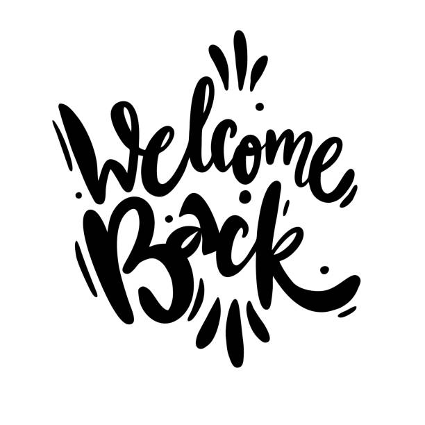 Welcome back. Hand drawn lettering. Modern brush calligraphy. Welcome back. Hand drawn lettering. Modern brush calligraphy. Isolated on white background. back stock illustrations