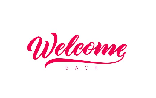 Welcome Back hand drawn lettering.
