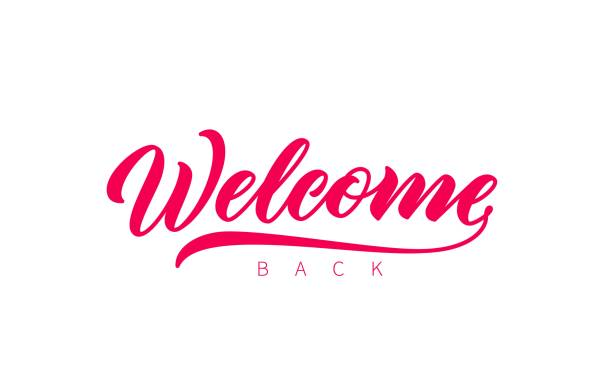 Welcome Back hand drawn lettering. Welcome Back hand drawn lettering. Vector isolated calligraphy inscription. Welcome, red lettering. Ready text isolated on white background. back stock illustrations