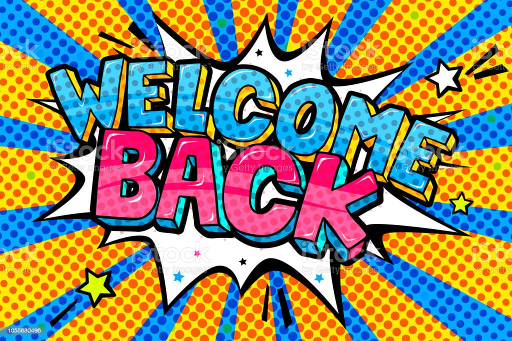 Welcome Back Lettering In Pop Art Style Stock Illustration ...