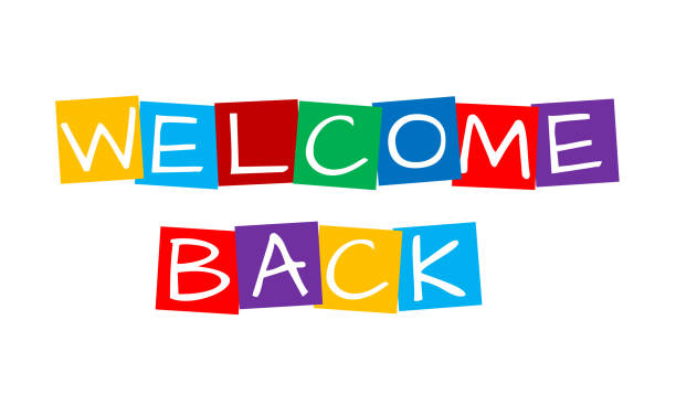 welcome back, text in colorful rotated squares welcome back, text in colorful rotated squares back stock illustrations