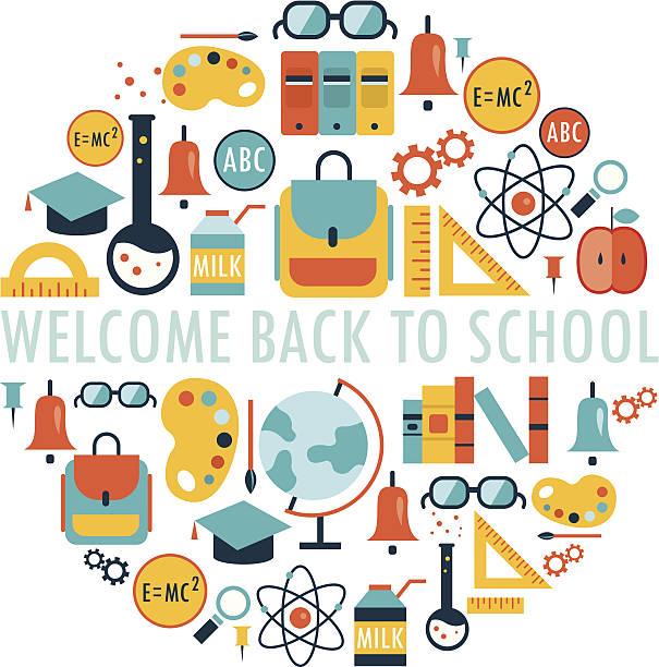 Herzlich willkommen zurück zu Schule Hintergrund – Vektorgrafik