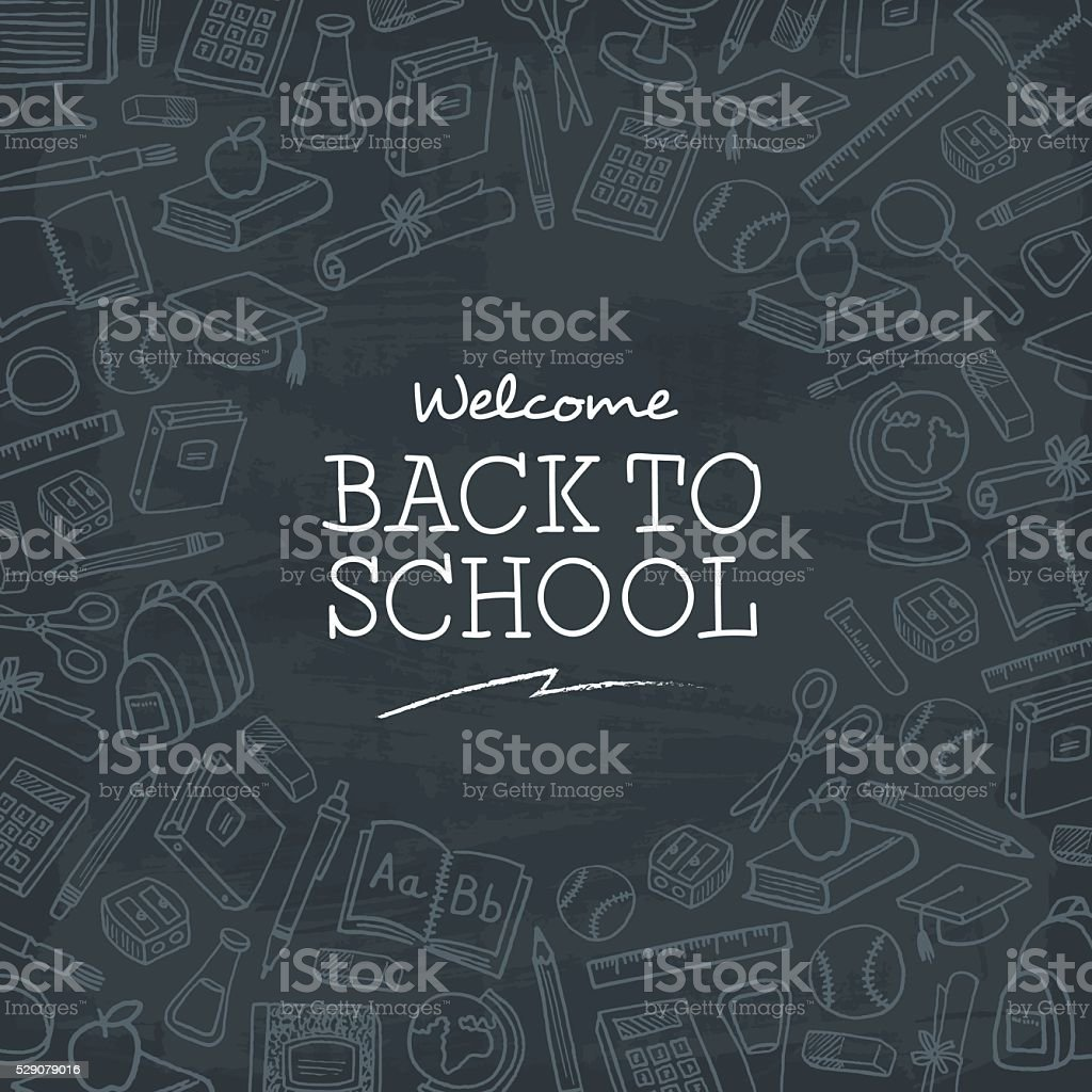 Welcome back to school background. vector art illustration