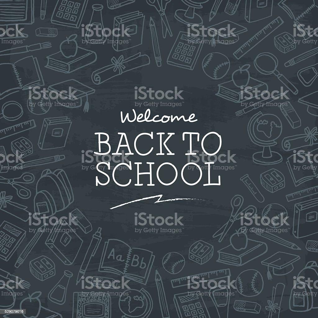 Bienvenido/a de nuevo a fondo de la escuela. - ilustración de arte vectorial