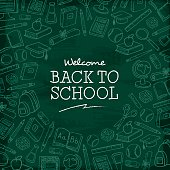 Welcome back to school sale on a blackboard background with dry chalk traces. Vector Eps10 illustration.