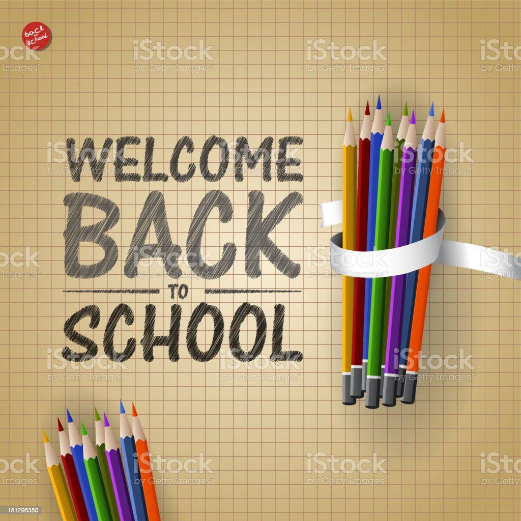 Welcome Back to school background with colorful pencils, vector illustration royalty-free stock vector art