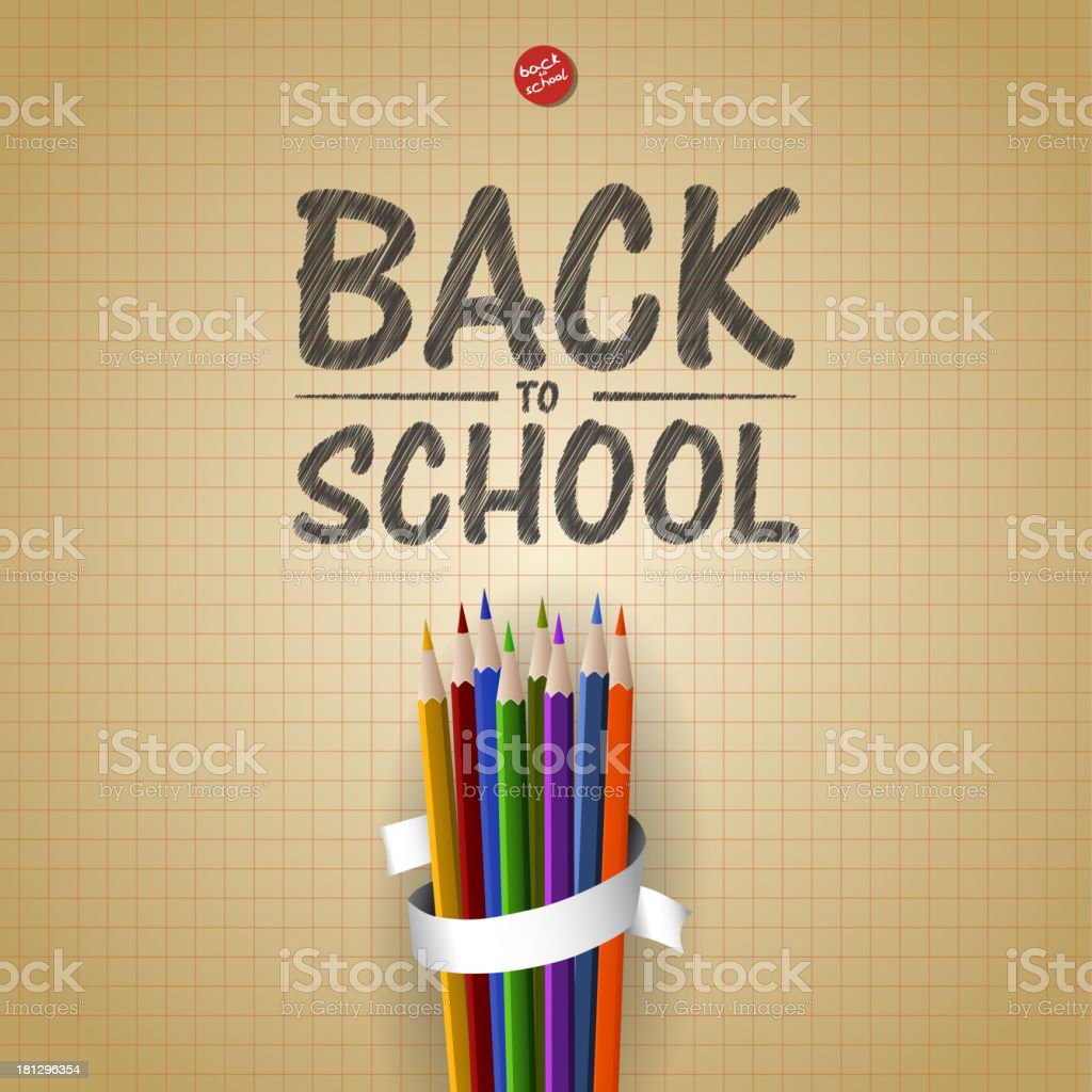 Welcome Back to school background with colorful pencils, vector illustration royalty-free welcome back to school background with colorful pencils vector illustration stock vector art & more images of algebra