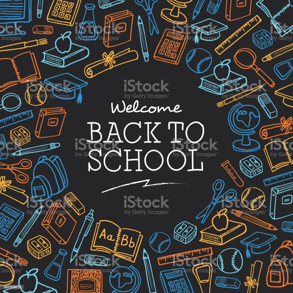 Welcome Back to school background with icons - Illustration vector art illustration