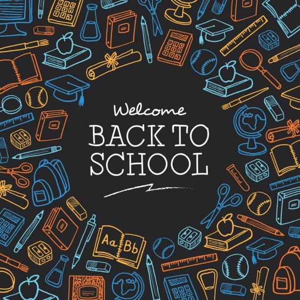 welcome back to school background with icons - illustration - back to school stock illustrations, clip art, cartoons, & icons