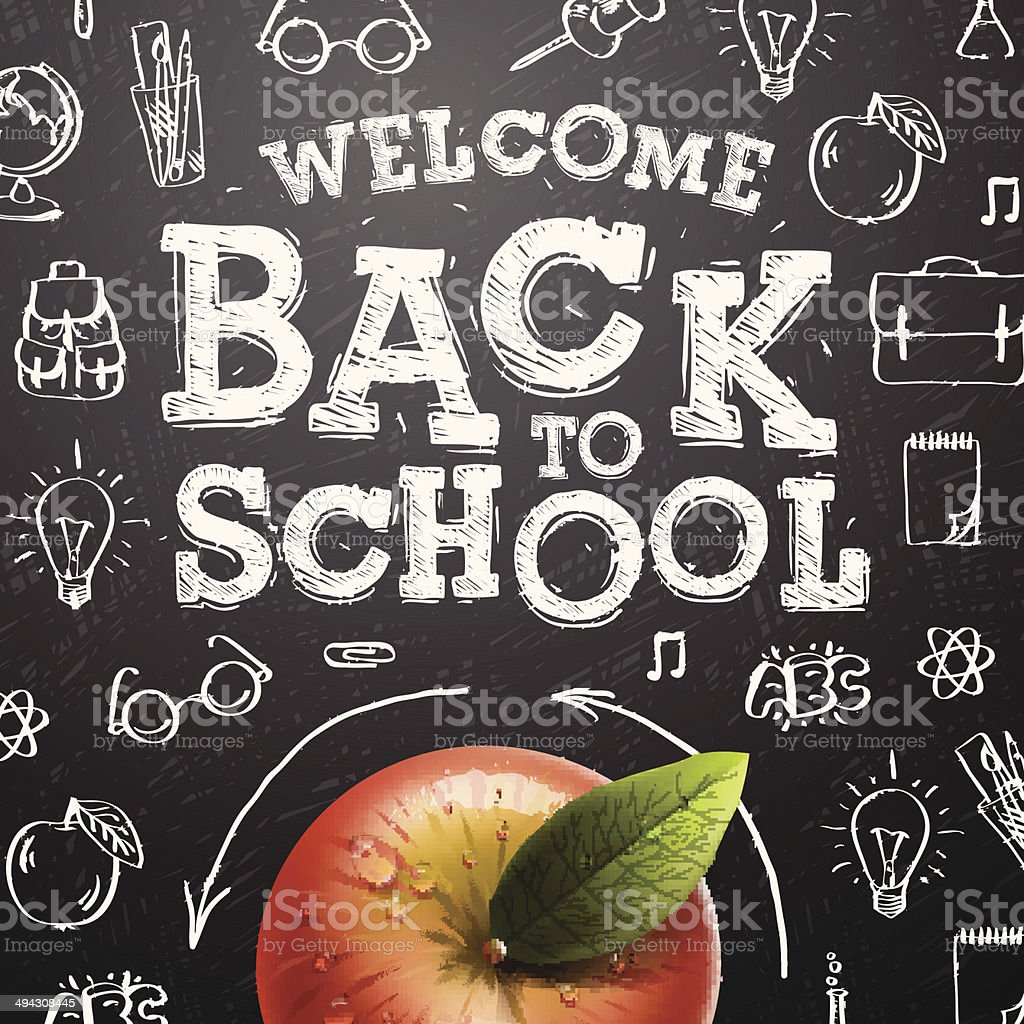 Bem-vindo de volta para a escola de fundo vermelho com maçã - ilustração de arte em vetor