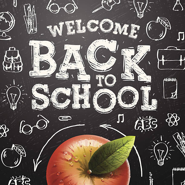 welcome back to school background with red apple - back to school stock illustrations, clip art, cartoons, & icons