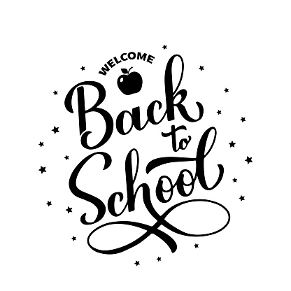 Welcome Back to school calligraphy hand lettering isolated on white. Vector template for typography poster, emblem design, banner, flyer, greeting card, postcard, t-shirt