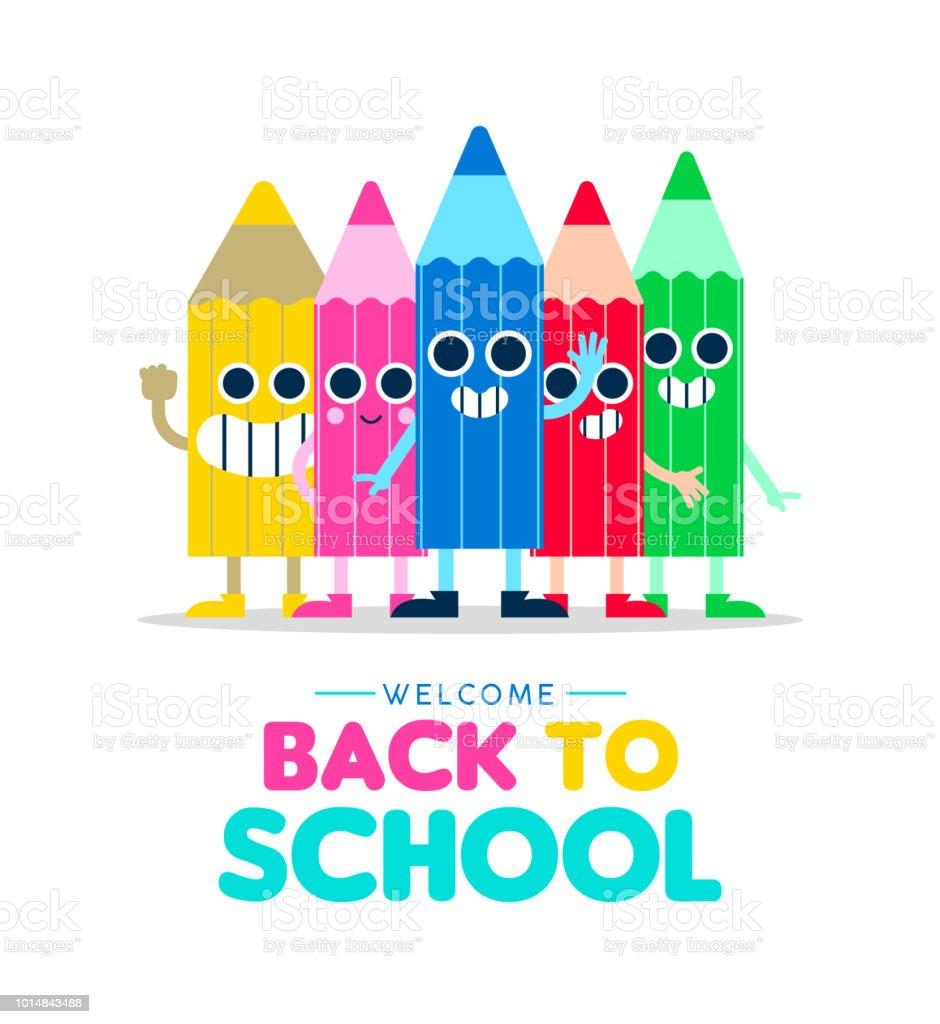 Welcome Back To School Cartoon Pencil Friends Stock Vector Art