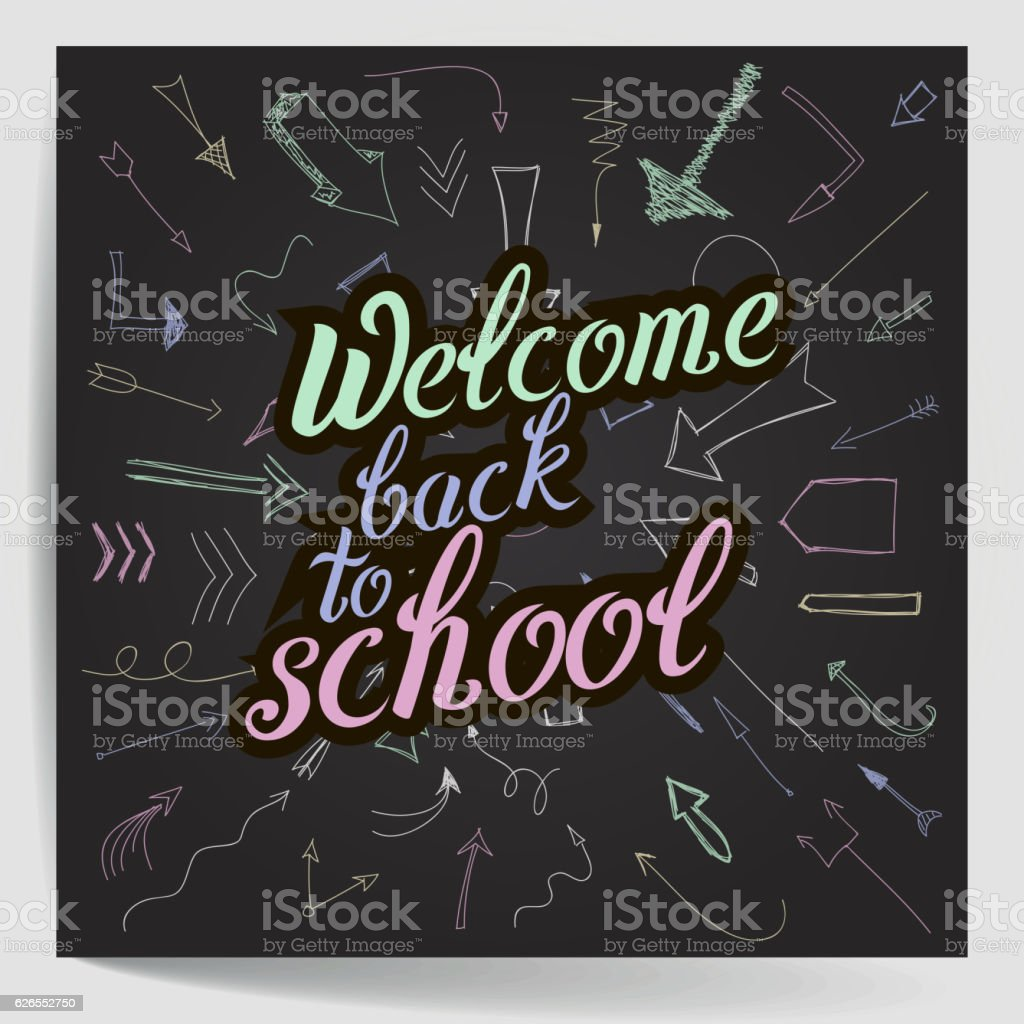 Welcome Back To School. Colourful Calligraphic Quote. Vector Illustration  Royalty Free Welcome Back