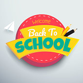 Welcome Back to school colourful vector banner design.