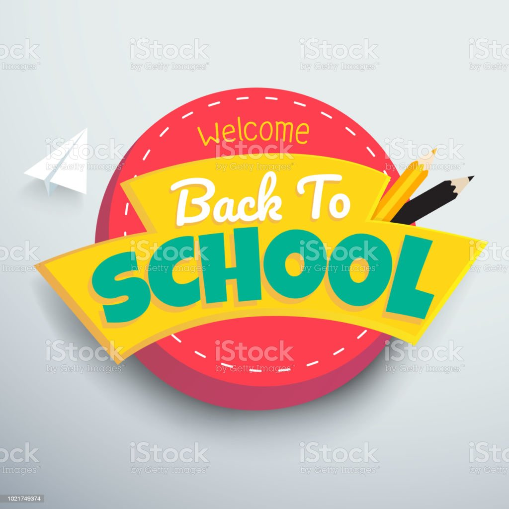 Welcome Back to school colourful vector banner design. vector art illustration