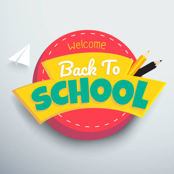 welcome back to school colourful vector banner design. - back to school stock illustrations