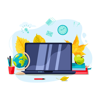 Welcome back to school concept. E-learning concept.