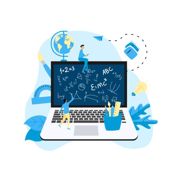stockillustraties, clipart, cartoons en iconen met welkom terug naar school concept. schoolbestuur in laptop monitor met formule en schoolbenodigdheden. - e learning