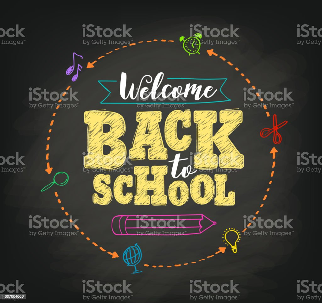 Welcome back to school concept vector design with writing vector art illustration