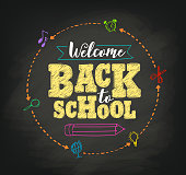 Welcome back to school concept vector design with writing