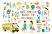 Welcome back to school, cute doodle set with lettering. Funny pupils, cartoon boy and girl, school bus and supplies. Hand drawn colorful vector illustration, isolated on white.