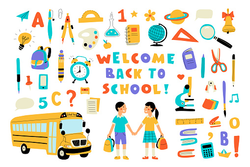 Welcome back to school, cute doodle colorful set with lettering. Hand drawn vector illustration, isolated on white.