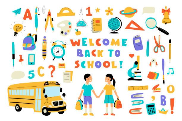 witamy z powrotem do szkoły, ładny doodle kolorowy zestaw z napisem. ręcznie rysowana ilustracja wektorowa, izolowana na biało. - grupa przedmiotów stock illustrations