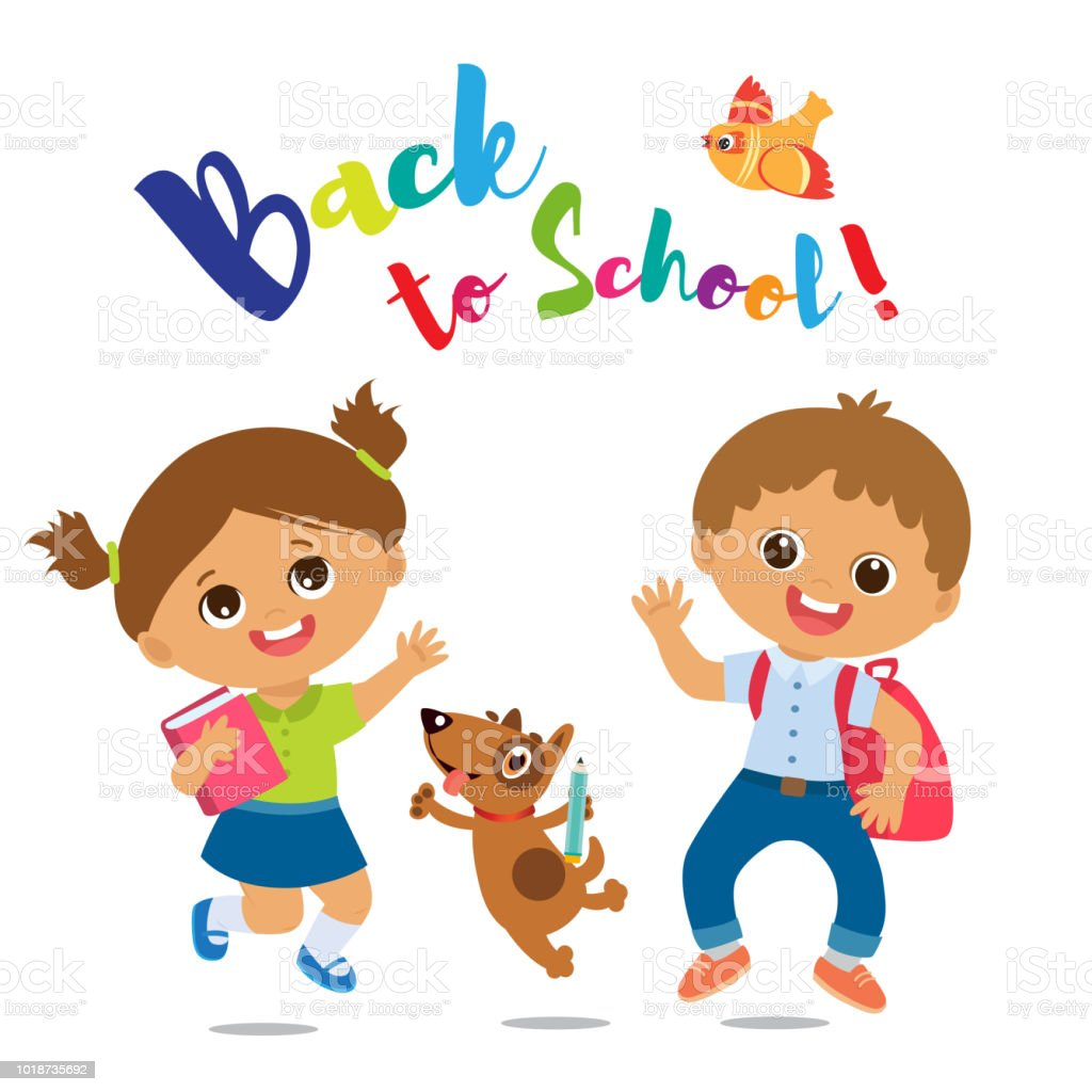 Welcome Back To School Cute School Boy And Girl With Book And Schoolbag Stock Illustration Download Image Now Istock