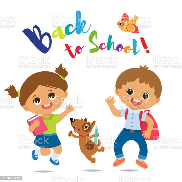 Welcome back to school cute school boy and girl with book and vector id1018735692?b=1&k=6&m=1018735692&s=612x612&h=m necmrvqaci1kokkcfapbi53mx3hayeccirgwm19dy=