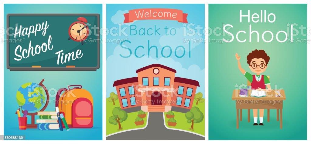 Ilustración de Bienvenido De Nuevo A La Escuela Escuela Linda Niños ...