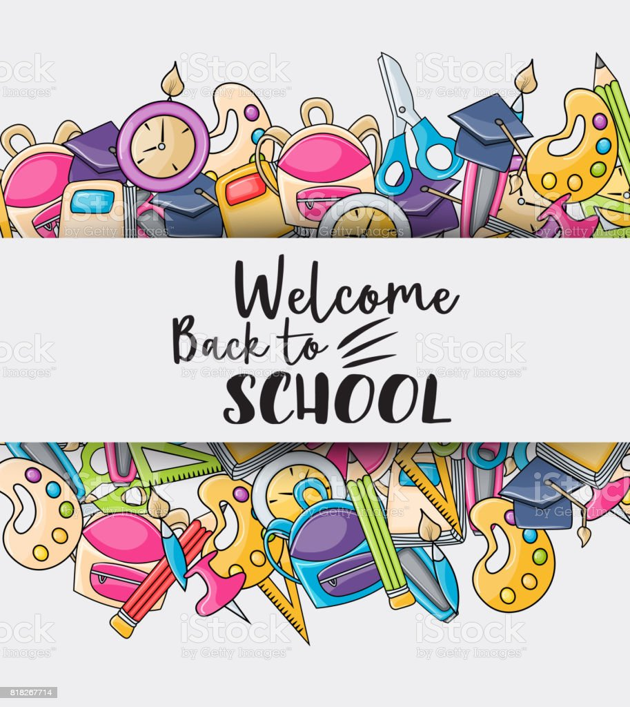 Welcome back to school doodle clip art greeting card cartoon vector welcome back to school doodle clip art greeting card cartoon vector illustration for flyer to m4hsunfo