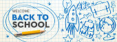 Welcome Back to school horizontal banner, doodle on checkered paper background, vector illustration.