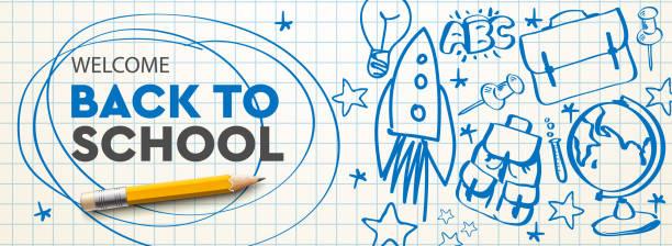 illustrations, cliparts, dessins animés et icônes de bienvenue retour à l'école bannière horizontale, griffonnage sur fond de papier à carreaux, illustration vectorielle. - reprise des cours