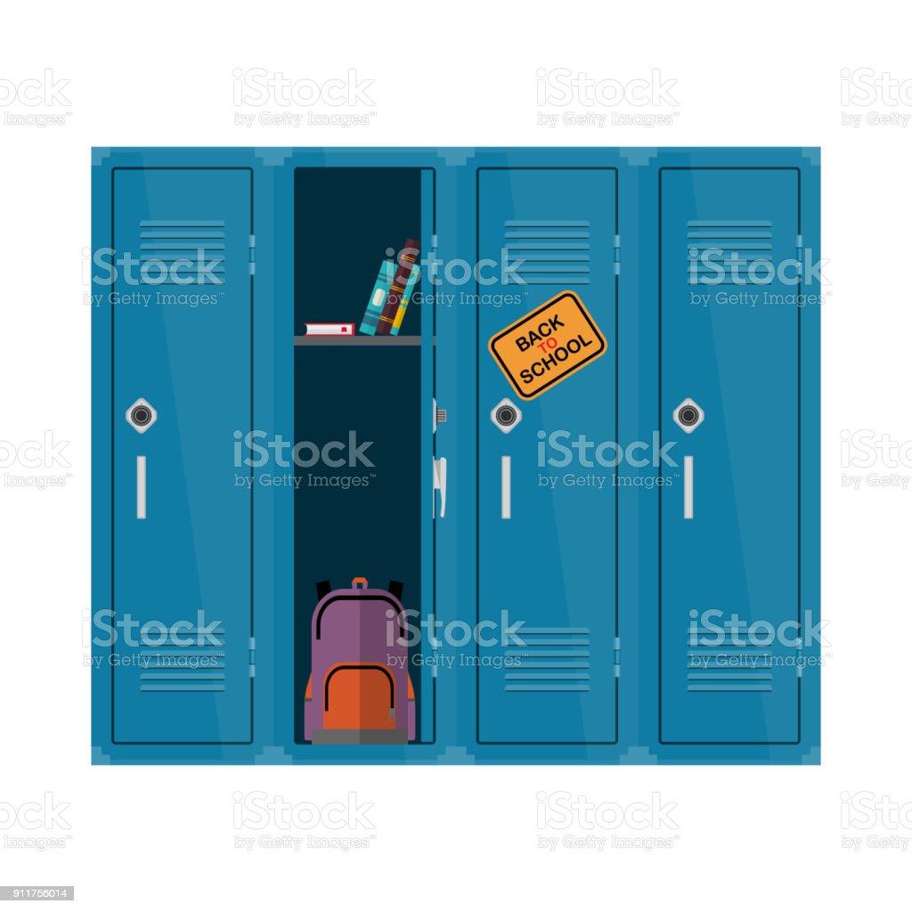 Bienvenue à l'illustration de l'école. Vector plate enfants clipart avec placard avec livres et sac à dos. Conception pédagogique de l'école locker. Intérieur coloré - Illustration vectorielle