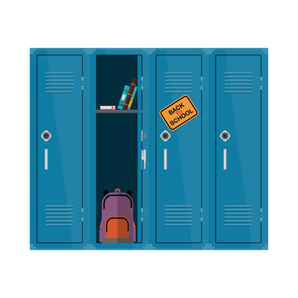 welcome back to school illustration. flat vector kids clipart with cupboard with books and backpack. school locker educational design. colorful interior - high school stock illustrations, clip art, cartoons, & icons