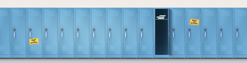 Welcome back to school. Long line of blue cupboards with combination lock and handles. Set of realistic school locker, metal cabinets with closed and open doors. Vector template, 3d illustration.