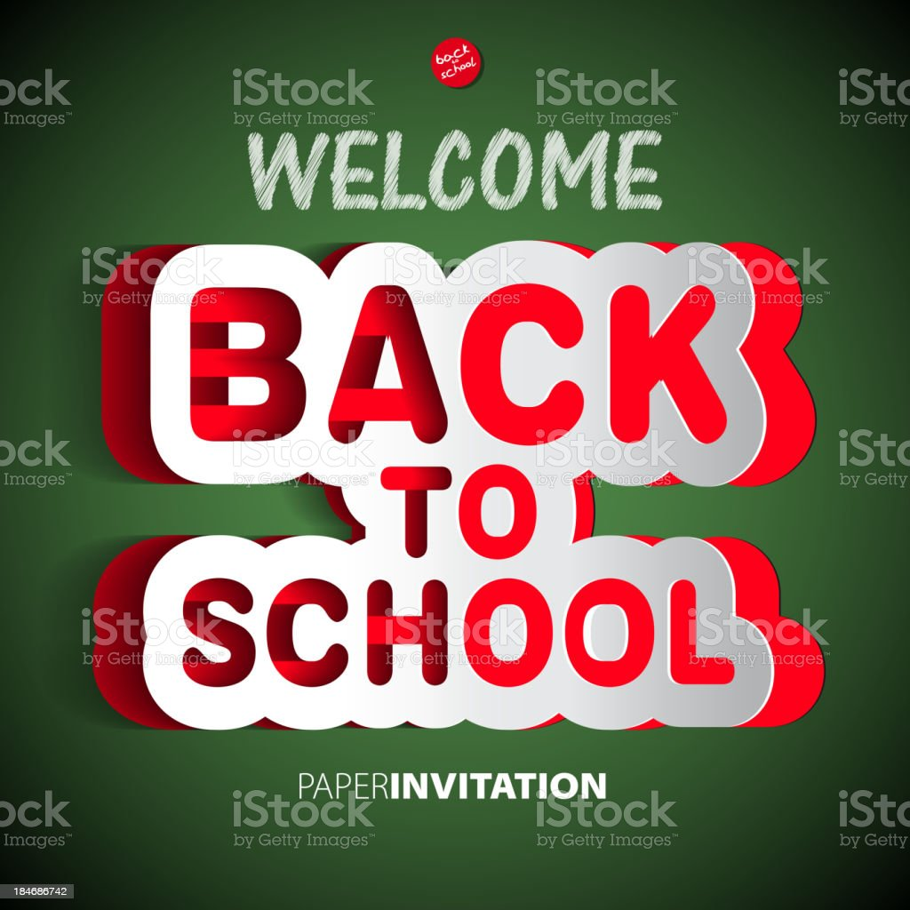 Welcome Back to school paper sign - vector illustration royalty-free stock vector art