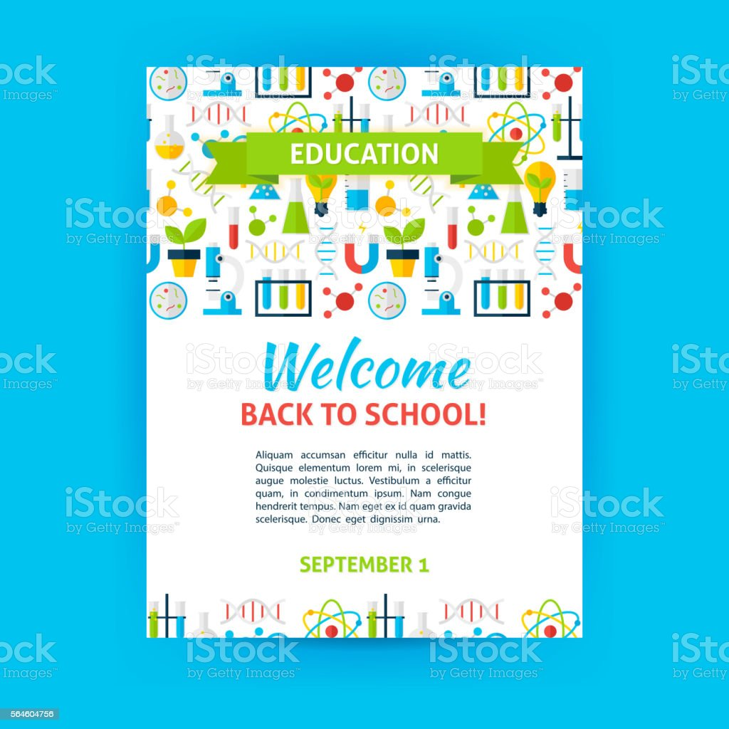 Welcome Back to School Poster Template ベクターアートイラスト