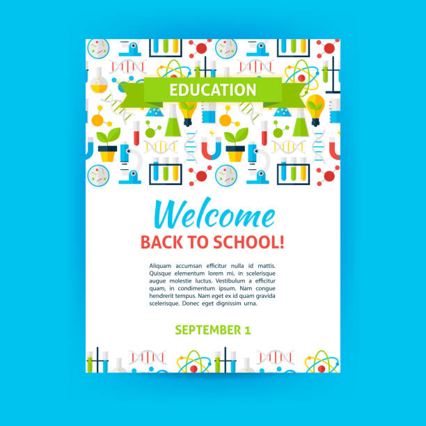 welcome back to school poster template - 高等学校点のイラスト素材/クリップアート素材/マンガ素材/アイコン素材