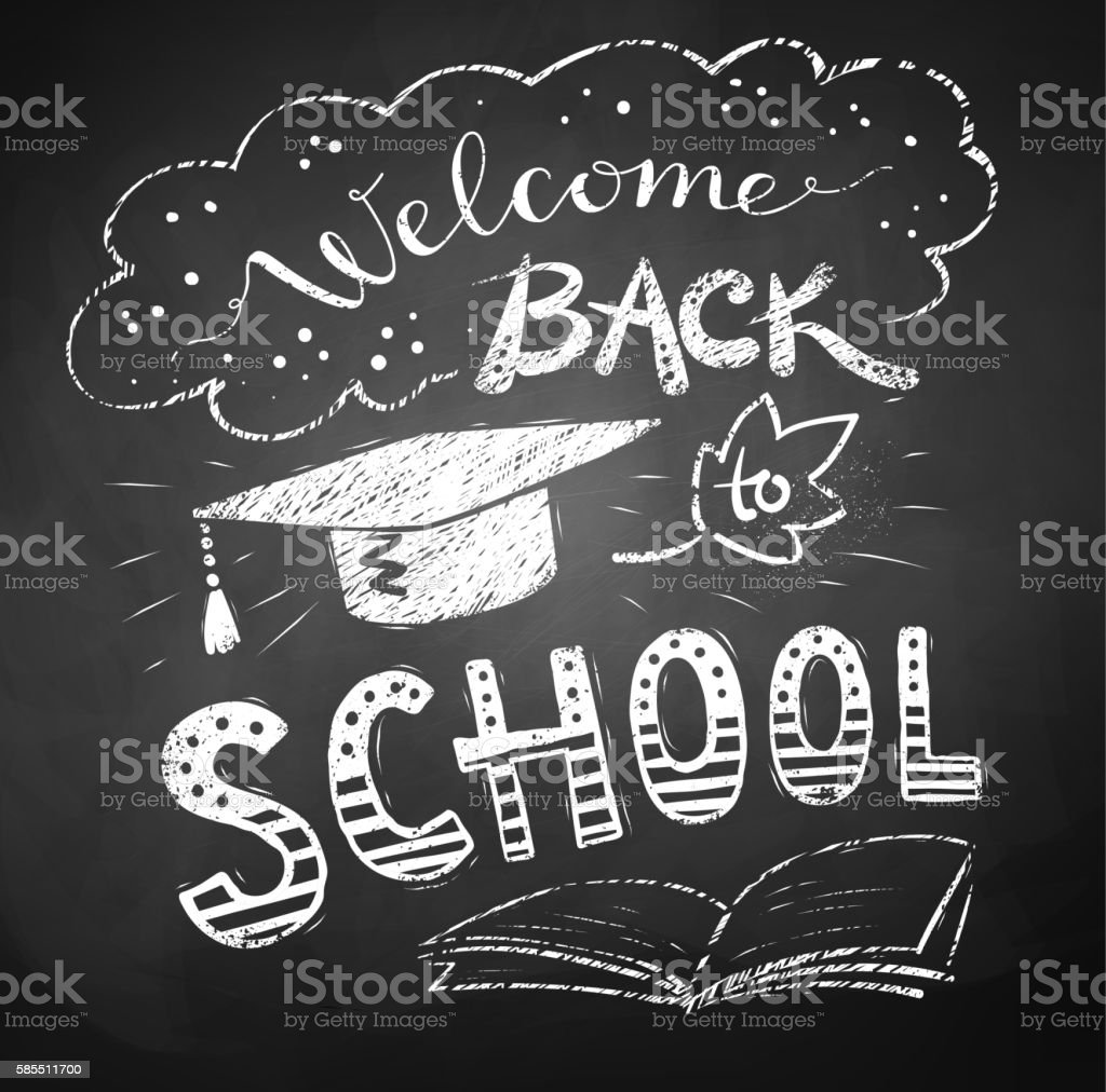 Welcome Back to School poster Welcome Back to School poster with mortarboard cap on chalkboard background. Back to School stock vector