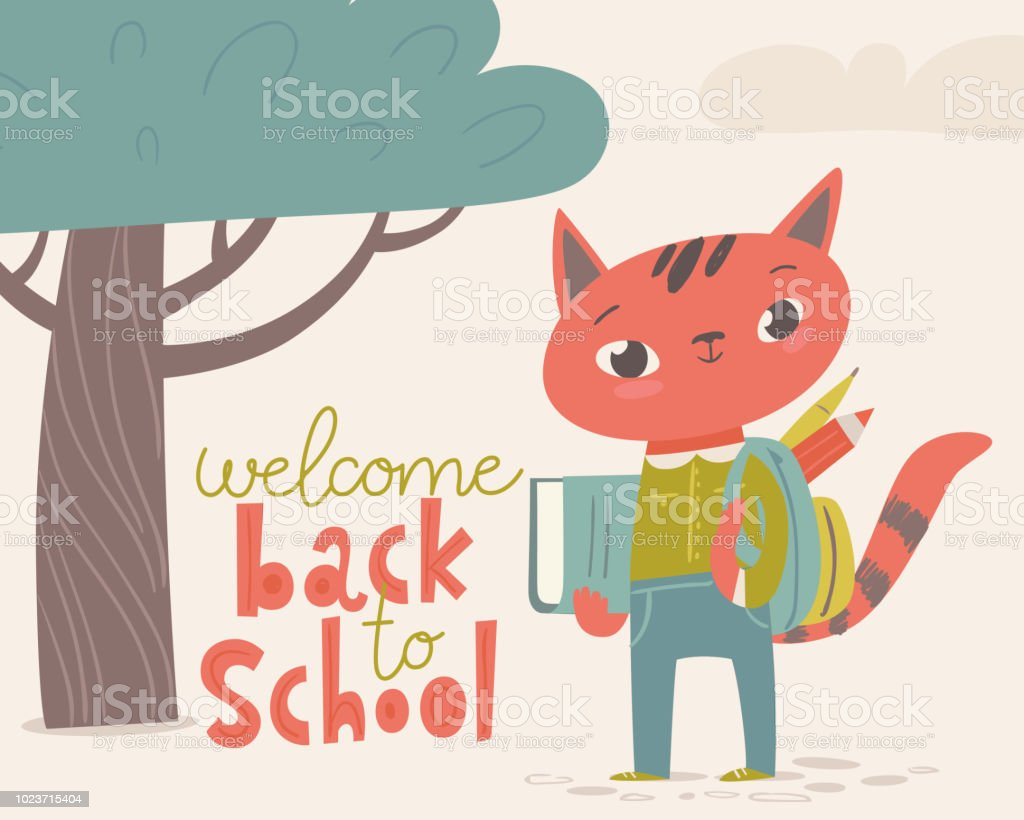 Vector flat vintage style welcome back to school poster with cartoon...