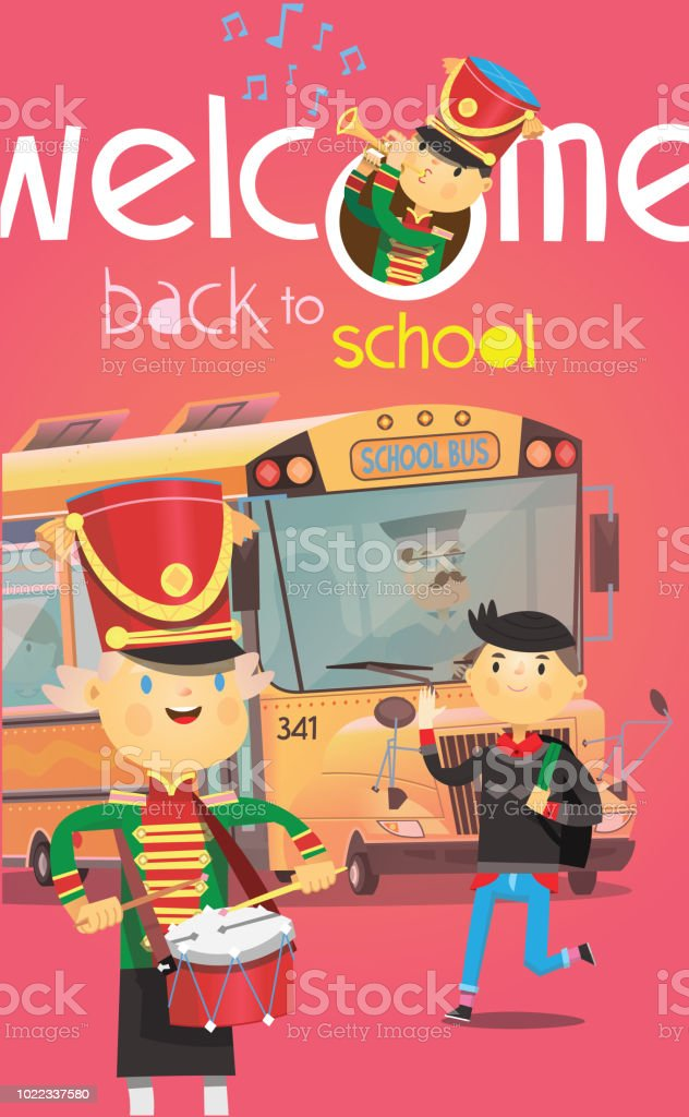 Welcome back to school poster with school bus and children greeting welcome back to school poster with school bus and children greeting each other in the beginning m4hsunfo
