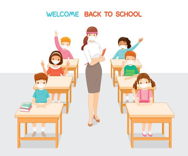 illustrations, cliparts, dessins animés et icônes de bienvenue à l'école, enseignant et étudiants portant le masque chirurgical se relaxant dans la salle de classe - enfant masque