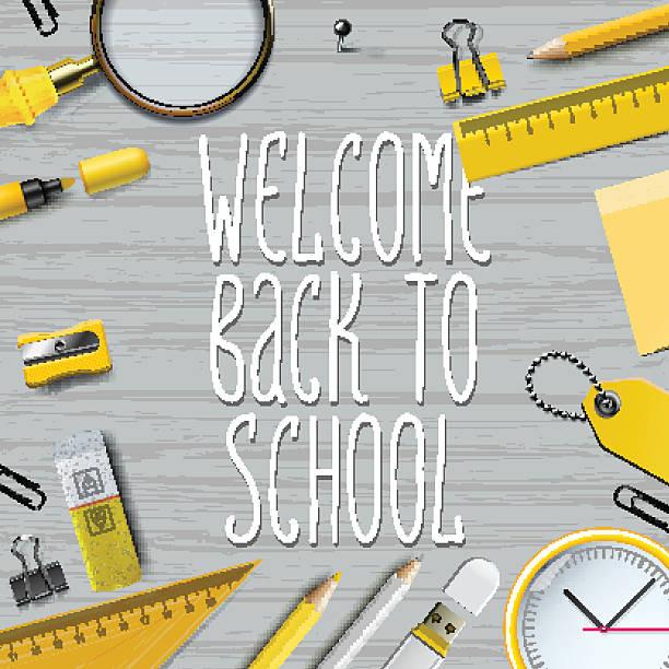 herzlich willkommen zurück zu schule vorlage - schultischrenovierung stock-grafiken, -clipart, -cartoons und -symbole