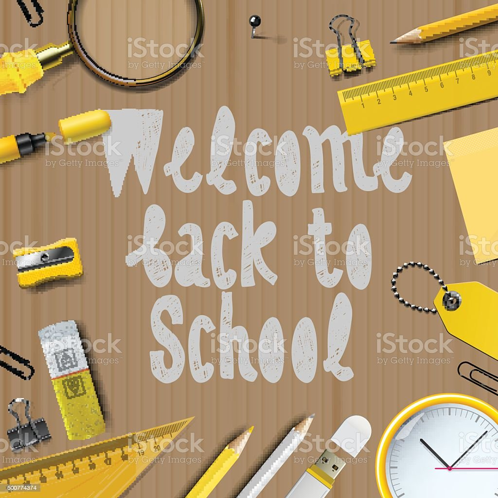 Welcome Back to school template vector art illustration