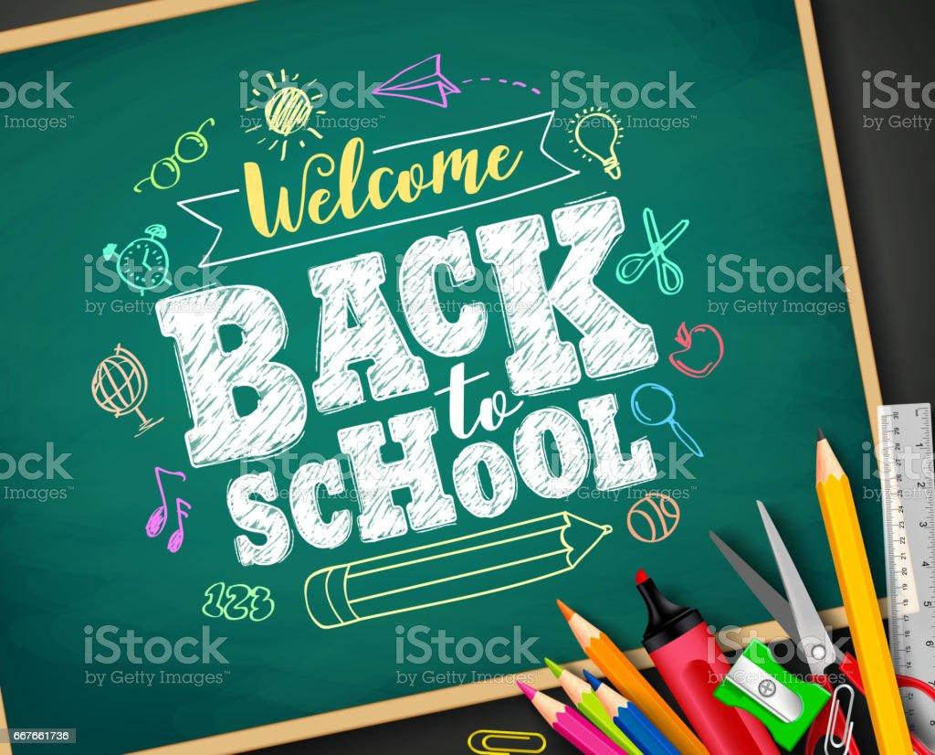 Welkom terug op school tekst tekening van krijt in schoolbordvectorkunst illustratie