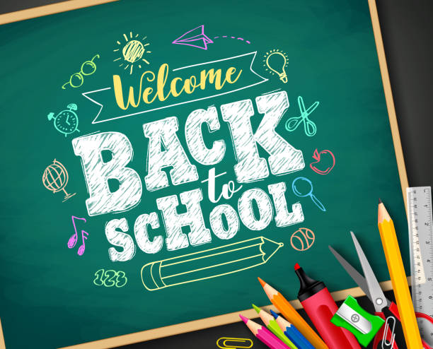 Welcome back to school text drawing by chalk in blackboard Welcome back to school text drawing by colorful chalk in blackboard with school items and elements. Vector illustration banner. back to school stock illustrations