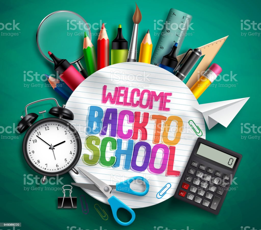 Welcome back to school vector banner with school supplies, education elements and colorful text royalty-free welcome back to school vector banner with school supplies education elements and colorful text stock illustration - download image now